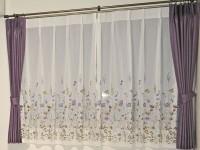 守山市 紫 花柄 レースカーテン スミノエ オーダーカーテン