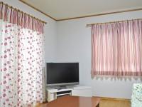 ピンク 花刺繍×マルチストライプ オーダーカーテン PT社生地 野洲市 セルコホーム