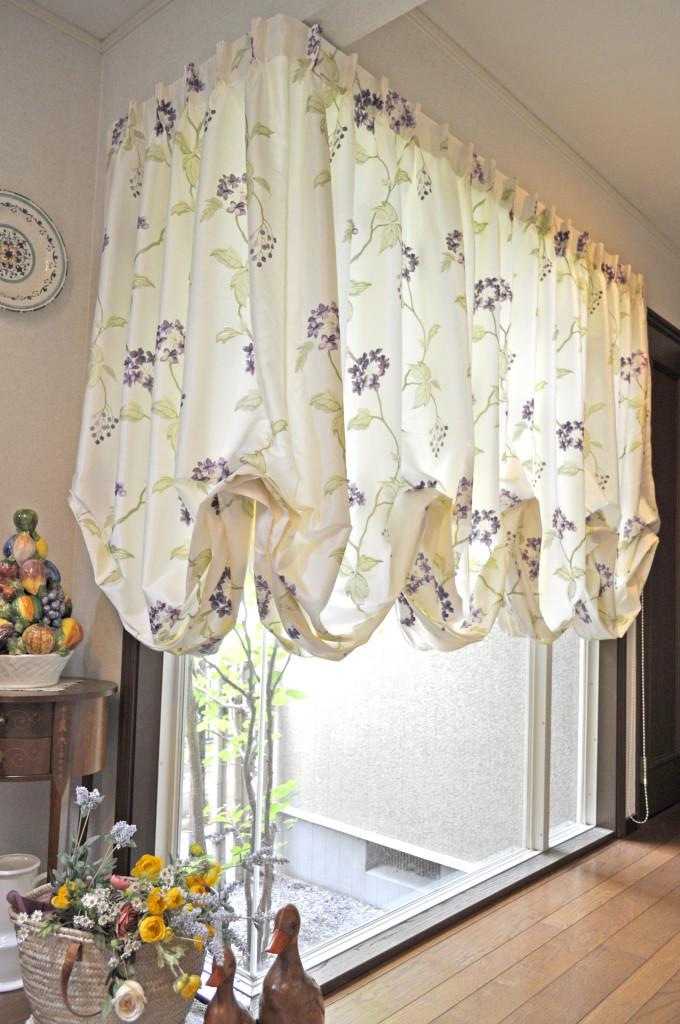 三井ホーム バルーンシェード 輸入カーテン 刺繍生地