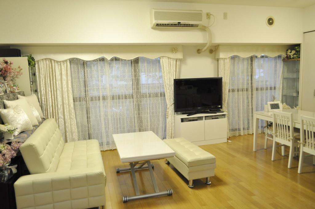 大阪 マンション 白家具 オーダーカーテン