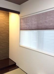 グラデーションレース ブルーグレーのカーテンとシンプルモダン 蒲生工務店