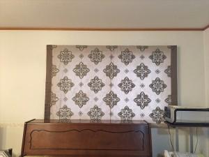 アクセントボーダーのオリジナルシェード グレージュの刺繍ドレープ リフォームのカーテン